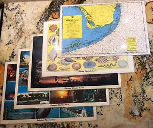 Vintage Florida Placemats Romantic Key West Seashells Keys Recipes Souvenir