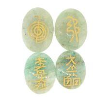 Set 4 USUI Reiki Symbols Engraved Gemstone Green Aventurine Healing Crystal