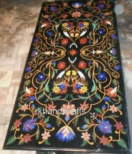 Black Marble Dining Table Top Stones Work Coffee Table with Beautiful Design