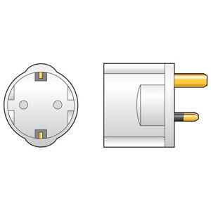 EUROPEAN 2-PIN Visitor to UK 3-Pin Travel Adaptor (PACK OF 1,3,6,24 & 100)
