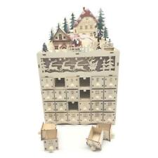 Christmas Wooden Advent Calendar Countdown Decoration 24 Drawers with LED Light