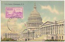 U.S. Capitol in Washington, DC Stamp on Postcard 1951