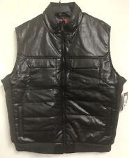 NWT $70 ECKO  men's pleather Chocolate brown Vest  size 2XL