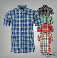 Mens Designer Pierre Cardin Casual Checked Short Sleeves Shirt Top Size S-XXL