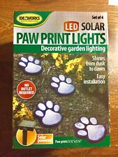 New Garden Solar Powered Paw Print Lights Ideaworks Set of 4 Paw Print Lights