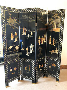 Chinese Black Lacquer Room Divider Screen 4 Panels inlaid with Mother of Pearl