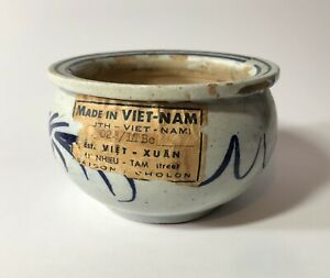 Vintage Made In Vietnam Blue White Dragon Bowl Early Original Label Antique Old