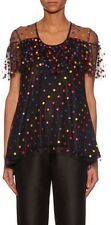 Marco De Vincenzo Women's Black Polka-dot Embroidered Tulle Top SZ 40 Made In It