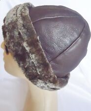 NEW! mens Sheepskin Beanie Tuque - Aviator Hat Unisex Real Leather fur size L