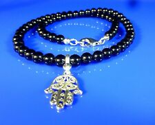 Hamsa Hand of Fatima Onyx Necklace