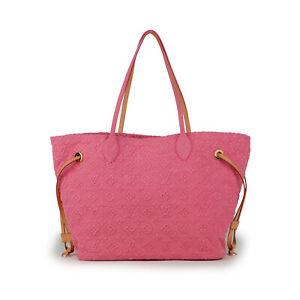 LOUIS VUITTON Neverfull MM Stone Rose Denim Monogram Pink Tote Bag