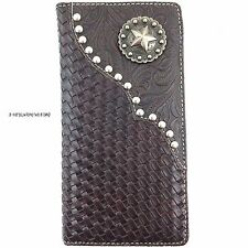 Premium Western Cowboys Bifold Mens Wallet Brown Pu Leather Star Carved Design