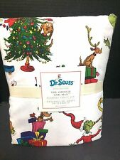 FLANNEL Pottery Barn Kids Dr. Seuss GRINCH Max QUEEN SHEET Christmas Bed '16 NEW