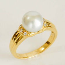 SOUTH SEA PEARL RING 8.8mm CULTURED PEARL GENUINE DIAMONDS 9K GOLD SIZE O NEW