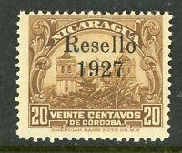 Nicaragua 1927 Cathedral Provisional 25¢ w/Black  Ink Mint V387 ⭐