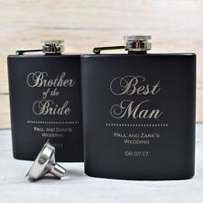 Personalised Engraved Black Wedding Hip Flask -Wedding Keepsake, Wedding Flasks
