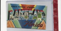 vintage Linen Large Letter Greetings from Lakeland Florida