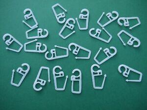 20 Faltenlegehaken weiß 7mm Öse für Gardinen Ringe Überklips Falten Haken Nr.6