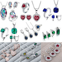 925Silver Filled Sterling Crystal Zircon Ring Necklace Bride Wedding Jewelry Set