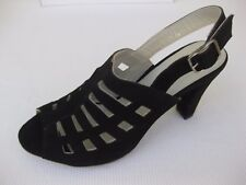 Eric Michael Womens Shoes NEW $155 Chili Black Kid Suede Sandal 38 7.5 8