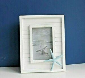 "White Wooden Coastal Nautical Photo Frame with Starfish Picture size 6 x 4"""