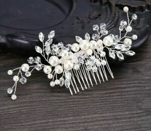 Pearl Flower Hair Comb Bride Tiara Crown Headpiece Wedding Bridal Head Jewelries