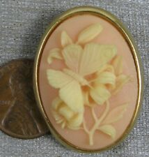 Vintage Goldtone Cameo Butterfly Pin Trifari