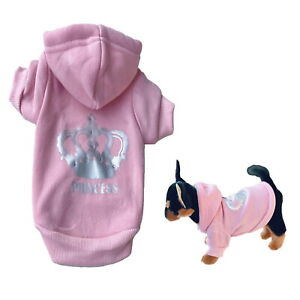 Dog Hoodie Pink Princess Crown XXS Rhinestones Fleece Teacup Chihuahua Puppy