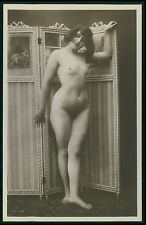French full nude woman and screen original c1910s photo postcard