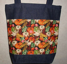 NEW Handmade Large Sparkly Autumn Fall Harvest Pumpkin Squash Denim Tote Bag