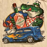 VTG Florida Mens Graphic T-Shirt Large Gator Hot Sauce Car Labor Day Distressed