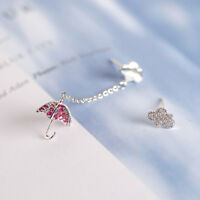 1Pair Women Asymmetrical Crystal Umbrella Cloud Dangle Stud Earring Jewelry Gift