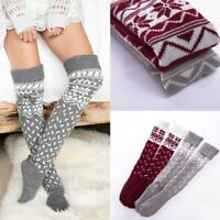 Women's Winter Knit Over Knee Long Boot Thigh-High Warm Sock Xmas Leggings Hot