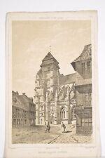 Litho XIX° Place et Eglise de PONT L'EVEQUE Thorigny dessinateur, Normandie