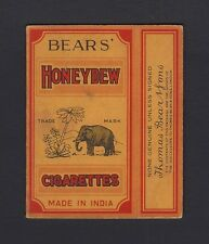 Vintage Bears' Honeydew Made in India cigarette packet