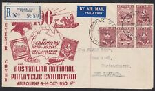 Australia 1950 ANPEX Exhibition TOORAK VIC REGISTERED Label FDC Cover to NZ