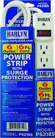 Harlyn Power Strip Surge Protector - 6 Outlets 6 ft cord 15A 125V 1875W 600 J