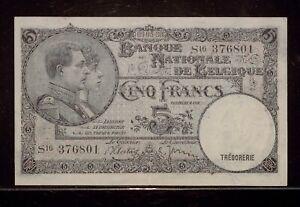 1938 Belgium 5 Francs  | VF | 09-05-38 | Banque Nationale de Belgique