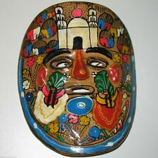 Colorful Hand Painted Vintage Terracotta Clay Mexican Folk Art Mask