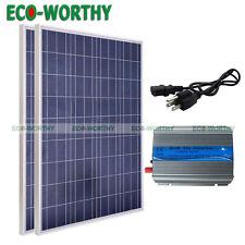 200W Solar Panel Kit:2x100W Solar Panels & 500W Grid Tie Inverter 12Volt Battery