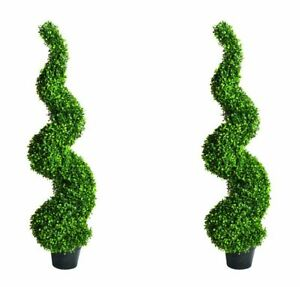Large Artificial Spiral Boxwood Buxus Tower Plant Twist Topiary Potted Tree