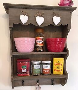 Shabby Chic Wall Unit Kitchen Shelf Cupboard Cabinet Small Display Spice Storage