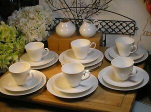 Kaffeeservice 6 x Gedeck Kaffeetassen Teller Rosenthal Porzellan Romanze weiß