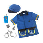 6x Toddlers Police Officer Costume with Walkie Talkie Handcuffs Accessories