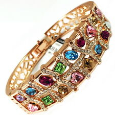 USA Bracelet GOLD large Swarovski ELM CRYSTAL wide multi-color Round Bangle NEW