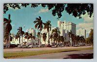 Miami FL, Bayfront Hotels, Biscayne Boulevard, Chrome Florida Postcard