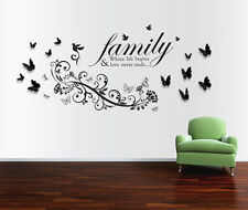 Wall Stickers Mural Decal Paper Art Decoration Family Bird Quote 3D Butterfly
