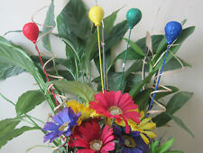 "Floral Picks BALLOONS Glittered Styrofoam Pk/8 Red, Yellow, Blue, Green 18"""