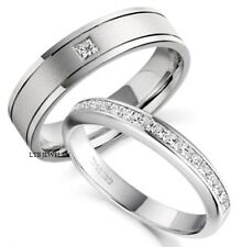 18K WHITE GOLD HIS & HERS MENS WOMENS WEDDING BANDS RINGS SET