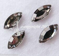 Glitzersteine Aufnähsteine Spitzoval ca.7 x 15 mm Black Diamond Karostonebox